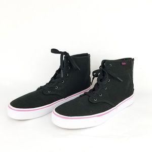 Vans Camden Black/Pink High Top Skate Sneakers